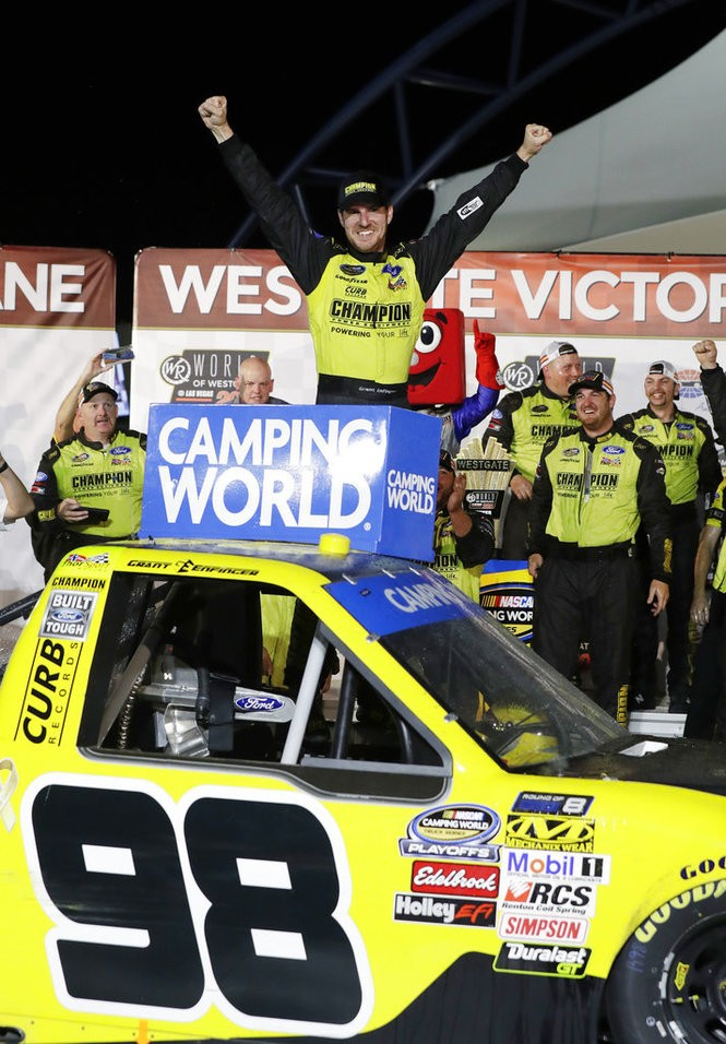 Grant Enfinger celebrates after winning the NASCAR Camping World Truck Series race at Las Vegas Motor Speedway on Friday, Sept. 14, 2018.