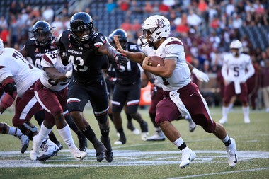 Alabama A&M's Jordan Bentley runs against Cincinnati at Nippert Stadium on Sept.15, 2018 in Cincinnati, Ohio. (Justin Casterline/Getty Images)