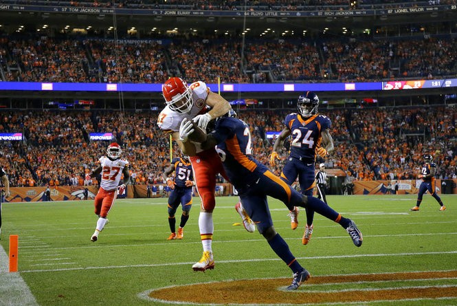Denver Broncos strong safety Darian Stewart breaks up a pass intended for Kansas City Chiefs tight end Travis Kelce in the end zone during an NFL game on Monday, Oct. 1, 2018, in Denver.