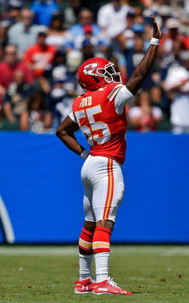 Kansas City Chiefs outside linebacker reacts after making a tackle against the Los Angeles Chargers during an NFL game on Sept. 9, 2018, in Carson, Calif.