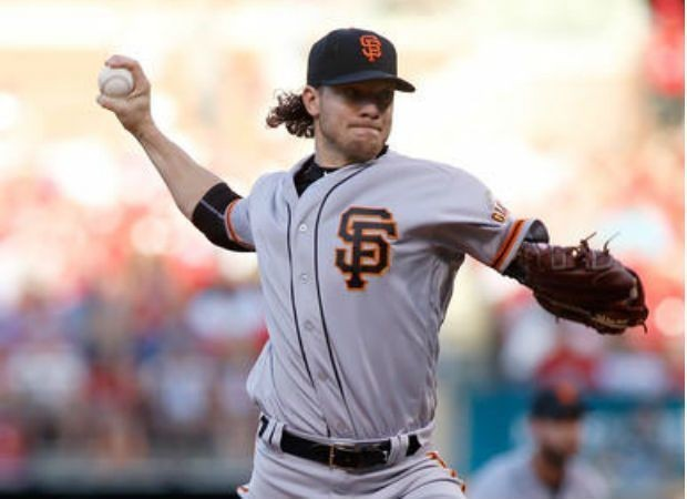 Jake Peavy pitches for the San Francisco Giants against the St. Louis Cardinals during a National League game on June 5, 2016, in St. Louis.