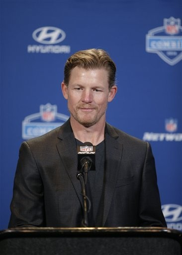 Los Angeles Rams general manager Les Snead listens to a question during a press conference at the NFL Scouting Combine on Thursday, Feb. 25, 2016, in Indianapolis.