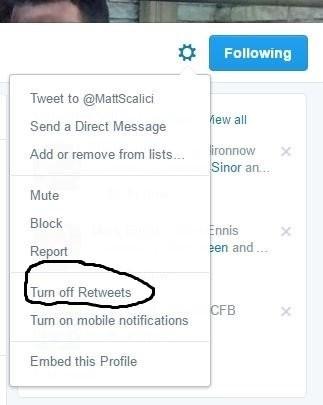 Turn off retweets