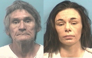 Robert Wayne English, 56, of Wilsonville, and Brandy Michele Shawver, 29, of Shelby, face charges after a one-year-old child was hospitalized with chemical burns from drain cleaner used in a meth lab. (Shelby County Sheriff's Office)