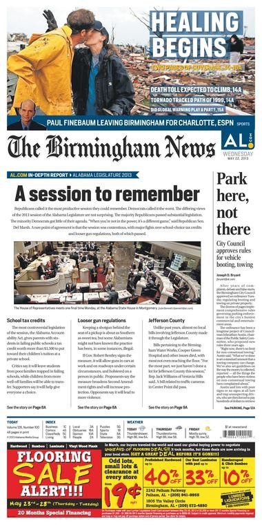 The front page of the Birmingham News on Wednesday, May 22, 2013.