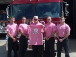 From left to right: Evan Nelson, Jeremy Camp, Terry Hagood (holding shirt), Justin Salter and Eddy Stewart. Photo by the Hueytown Fire Department, submitted by Rebecca Williams.