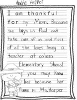 Thankful Thoughts from students in teacher Joni Colmer'As third-grade class at Calera Intermediate School in Shelby County.