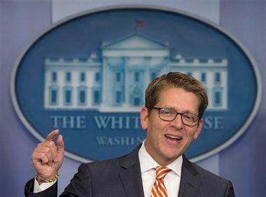 Press Secretary Jay Carney addresses the media. (Associated Press)