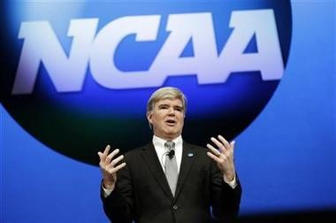 NCAA President Mark Emmert speaks at the organization's annual convention today in Grapevine, Texas. Emmert delivered his state of the association address on the second day of the group's convention, where several reform measures are on the agenda in the wake of high-profile scandals. The board could make sweeping changes this week, including rules about communicating recruits. (AP Photo/LM Otero)