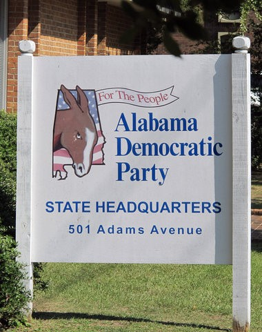 The Democratic Party sign in front of state party headquarters on Adams Avenue in Montgomery will soon be coming down because the party can't pay the rent