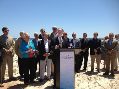 Gov. Robert Bentley joins state and local leaders in Gulf Shores on May 14, 2013 to sign the bill authorizing construction of the Gulf State Park Convention Center with NRDA funds from the Deepwater Horizon oil spill. (Photo Credit: Governor's Office, Jennifer Ardis)