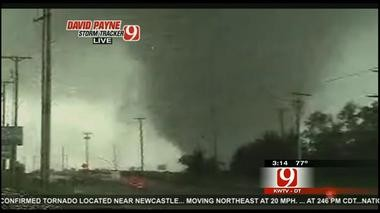 Photo of a tornado that hit the Oklahoma City area earlier this afternoon. (KWTV Channel 9 photo)