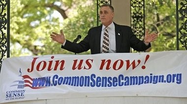Pete Riehm, co-founder of the Common Sense Campaign, speaks at at Tea Party rally in Mobile on Apr. 15, 2010. (Bill Starling/AL.com)