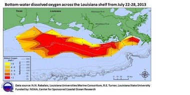 """This year's Gulf of Mexico """"dead zone"""" covers 5,840 square miles. (NOAA)"""