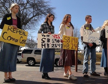 Demonstrators urge state legislators to repeal Alabama's common core curriculum standards during a rally outside the Statehouse in April. (Evan Belanger/Alabama Media Group)