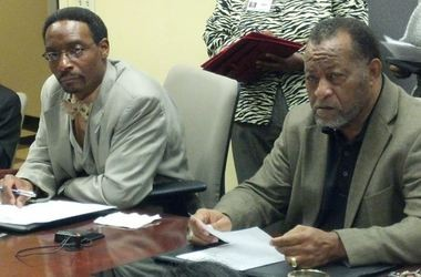 Alabama State University Trustee Marvin Wiggins, left, wants the governor's office to conduct a forensic audit of all other public colleges in Alabama. Also pictured is ASU Board of Trustees Chairman Elton Dean. (Evan Belanger/Alabama Media Group)