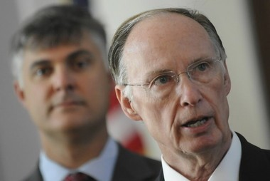 Sen. Scott Beason R-Gardendale, left, and Alabama Gov. Robert Bentley before signing into law the state's 2011 crackdown on illegal immigration. Bentley and Beason appear to agree on opposition to Common Core. (AP Photo/Montgomery Advertiser, Mickey Welsh)