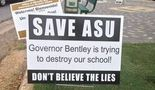 Vice President of University Relations Danielle Kennedy told Alabama State University students last month that ASU was not responsible for the placement of these signs in Montgomery following the governor's release of a preliminary report alleging wrongdoing at the school. (File photo)