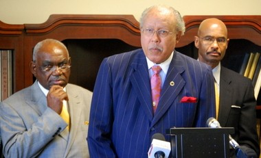 From left, former federal Judge U.W. Clemon, interim ASU President William Harris, and ASU general counsel Kenneth Thomas conduct a press conference today in Montgomery. (Evan Belanger/Alabama Media Group)
