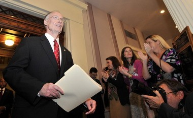 Gov. Robert Bentley enters the State Capitol on Tuesday night for his State of the State address. (Julie Bennett/jbennett@al.com)