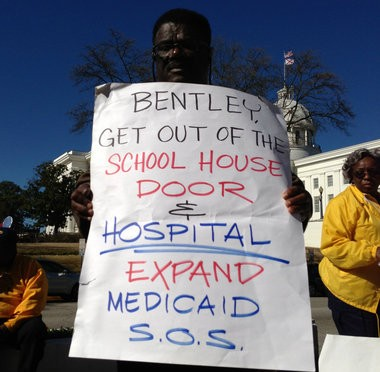 A rally urging Medicaid expansion outside the Alabama State House on the opening day of the legislative session last week, (Kim Chandler/kchandler@al.com)