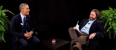 "President Barack Obama and the actor Zach Galifianakis on the program ""Between Two Ferns."" (Associated Press)"