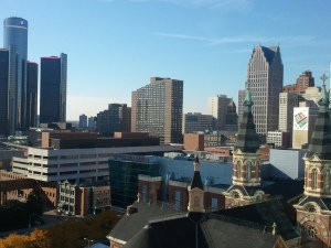 View of Detroit from the Greektown Casino parking deck. (WWJ Photo/Mike Campbell)