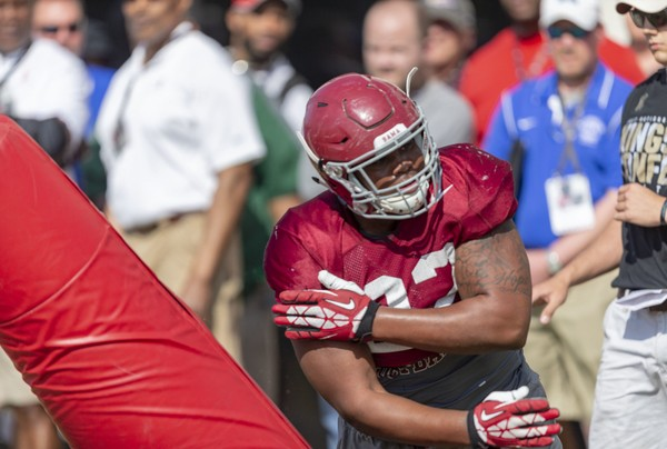 Alabama defensive lineman Quinnen Williams (92) works through drills during Alabama spring football practice, Friday, April 13, 2018, at the Thomas-Drew Practice Fields in Tuscaloosa, Ala. (Vasha Hunt/vhunt@al.com) ORG XMIT: ALBIN401 AP