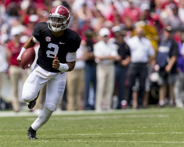 dd1ff739811 Alabama quarterback Jalen Hurts (2) breaks free during the 2018 A-Day game