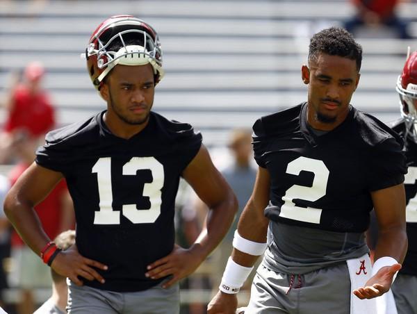Jalen Hurts (2) and Tua Tagovailoa (13) are competing for Alabama's starting quarterback job. (AP Photo)