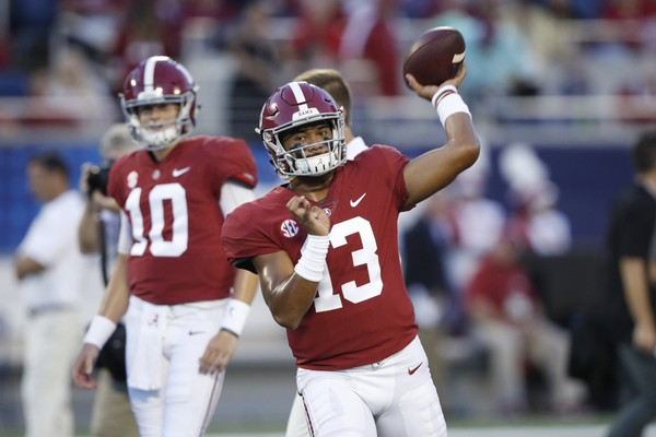 Tua Tagovailoa accounted for three total touchdowns during Alabama's win over Louisville on Saturday.