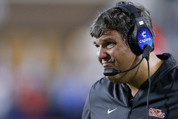 Head coach Matt Luke of the Ole Miss Rebels reacts during the first half against the Alabama Crimson Tide Saturday night.