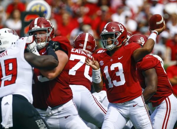Alabama quarterback Tua Tagovailoa (13) throws a pass in the win over Arkansas State.
