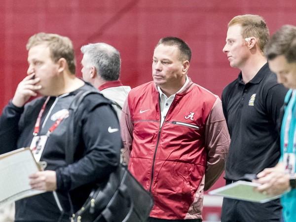 Butch Jones looks on during Alabama's pro day, Wednesday, March 7, 2018, at the Hank Crisp Indoor Facility in Tuscaloosa. Vasha Hunt/vhunt@al.com