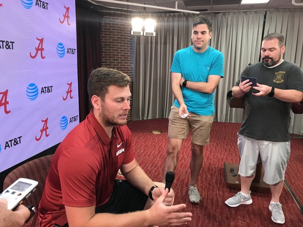 Alabama tight end Hale Hentges meets with local media Thursday in Tuscaloosa.