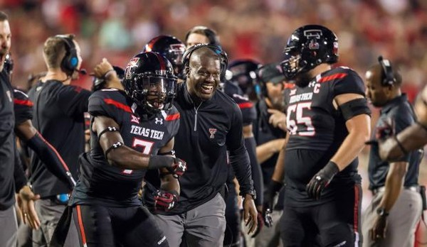 Karl Scott (center) was Texas Tech's defensive backs coach in 2016 and this past season. He was hired as Louisiana-Lafayette's defensive coordinator in December.