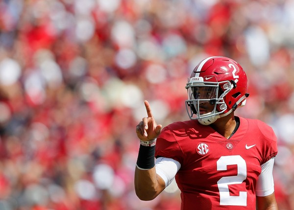 Jalen Hurts of the Alabama Crimson Tide looks to the sidelines for the play call against the Louisiana Ragin' Cajuns at Bryant-Denny Stadium on September 29 in Tuscaloosa.
