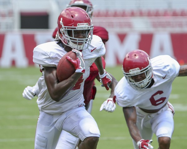 Sophomore wide receiver Jerry Jeudy scored a touchdown during Alabama's scrimmage on Saturday.