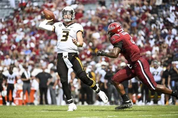 Missouri quarterback Drew Lock (3) attempts a pass during the first half against South Carolina Saturday in Columbia, S.C.