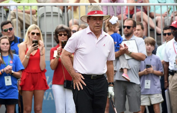 Nick Saban took part in the Regions Tradition golf tournament on Wednesday.