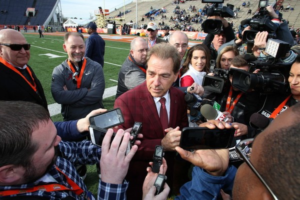 Alabama head coach Nick Saban, center, meets with reporters during South squad practice for the Reese's Senior Bowl on Wednesday, Jan. 24, 2018, at Ladd-Peebles Stadium in Mobile, Ala. (Mike Kittrell/AL.com)