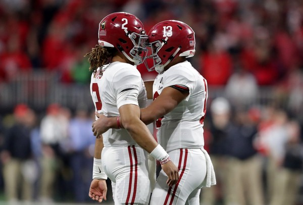 Tua Tagovailoa (No.13) and Jalen Hurts (No. 2) will compete for Alabama's starting quarterback job in August.
