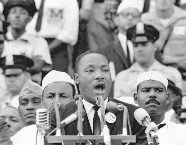 "Martin Luther King, Jr. during his historic march on Washington in April of 1963, the site of his now-famous ""I have a dream"" speech. (SHNS photo by Corbis / Scripps Howard News Service)"