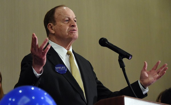 U.S. Senator Richard Shelby greets his supporters at the Embassy Suites Hotel in Tuscaloosa, Alabama after winning the Republic Primary. (Joe Songer/jsonger@al.com).