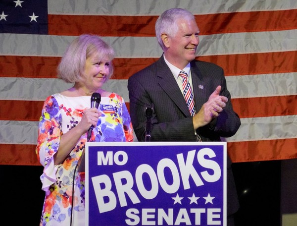 Martha and Mo Brooks thank supporters in Huntsville, Alabama Tuesday evening Aug. 15th. (Bob Gathany / bgathany@AL.com)
