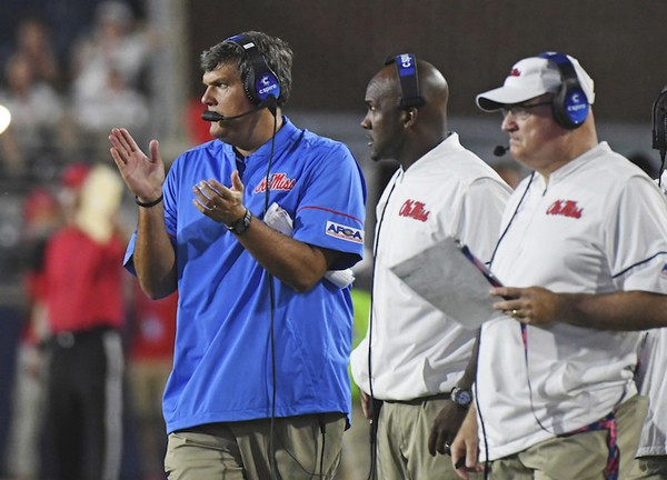 Mississippi head coach Matt Luke watches on during the second half of an NCAA  college football 00ded9190