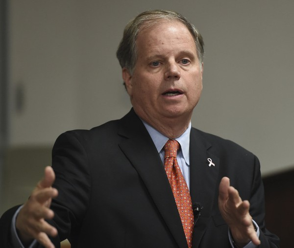 Doug Jones, the democratic candidate for U.S. Senate, speaks at Auburn University Wednesday, Oct. 25, 2017, in Auburn, Ala. (Julie Bennett/jbennett@al.com)