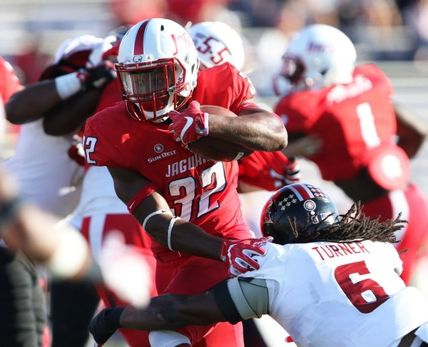Louisiana defensive back Corey Turner (6) closes in on South Alabama running back Tra Minter (32) in the first half of a college football game Saturday, Nov. 4, 2017, at Ladd-Peebles Stadium in Mobile, Ala. (Mike Kittrell/AL.com)