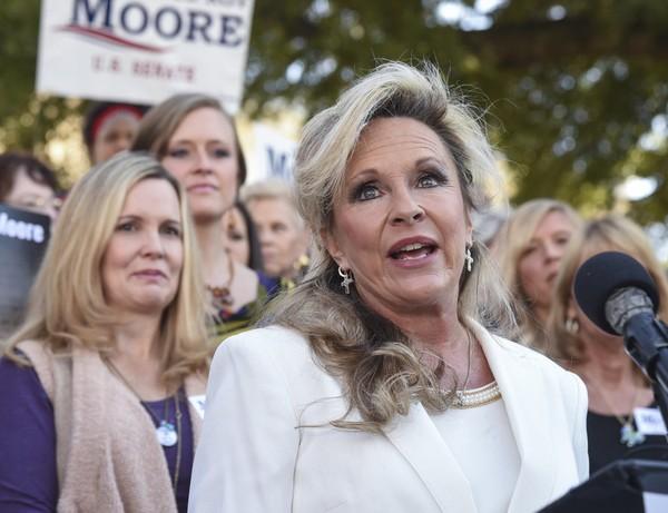 Kayla Moore, wife of republican U.S. Senate candidate, speaks Friday, Nov. 17, 2017, during a Women for Moore rally in Montgomery, Ala. (Julie Bennett/jbennett@al.com)
