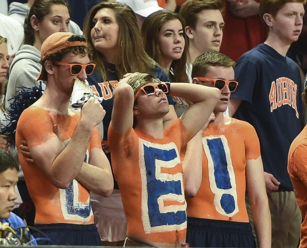 Auburn fans watch the second half of the game against Florida Tuesday, Feb. 14, 2017, during an NCAA basketball game at Auburn Arena in Auburn, Ala.